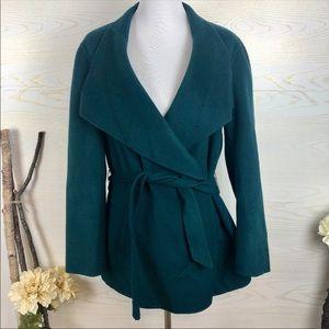J Jill teal wool angora cozy wrap coat jacket